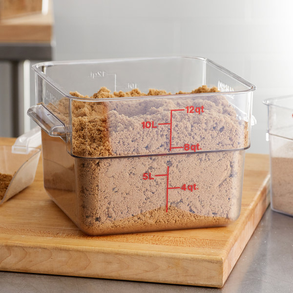 Cambro 12SFSCW135 12 Qt. Clear Square Polycarbonate Food Storage Container with Red Gradations Main Image 2