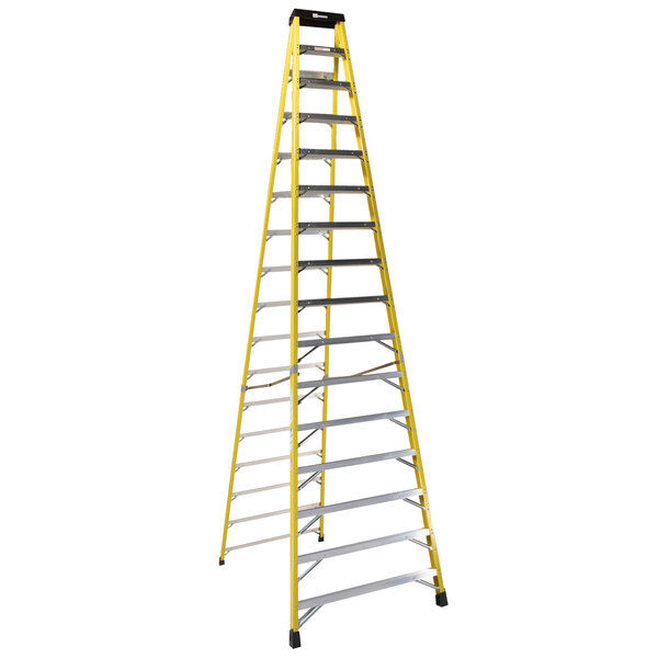 Bauer Corporation 35016 350 Series Type 1A 16' Safety Yellow Fiberglass Step Ladder - 300 lb. Capacity Main Image 1
