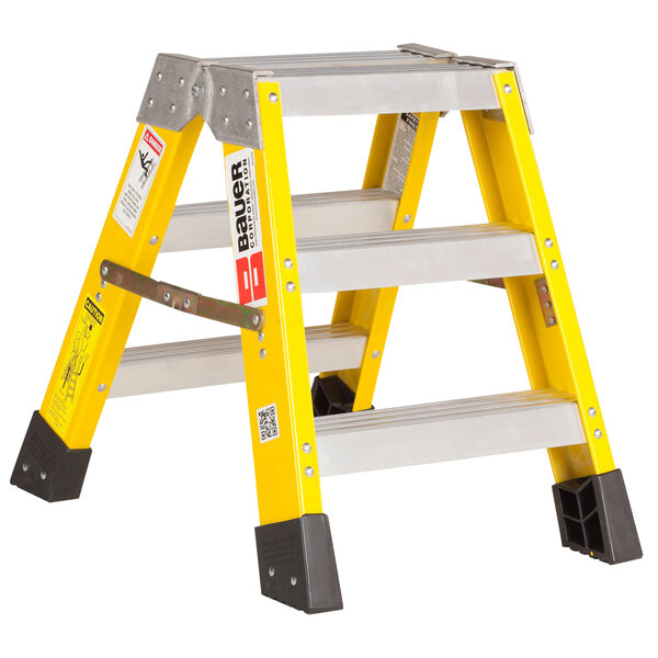 Bauer Corporation 35202 352 Series Type 1AA 2' Safety Yellow Fiberglass Two-Way Step Ladder - 375 lb. Capacity Main Image 1