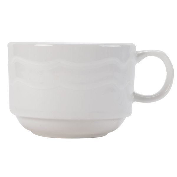 CAC GBK-1-S Goldbook Bone White Book-Shaped China Stacking Tea Cup 8 oz. - 36/Case Main Image 1
