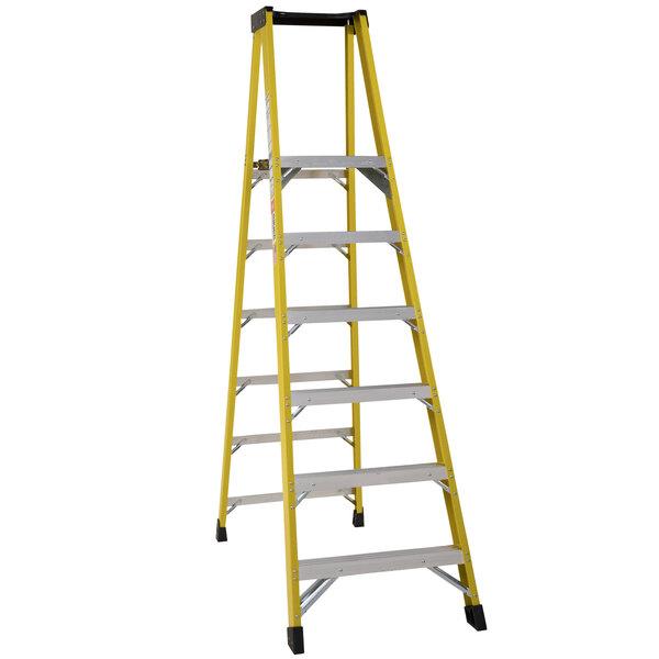 Bauer Corporation 35108 351 Series Type 1AA 8' Safety Yellow Fiberglass Platform Ladder with Steel Platform - 375 lb. Capacity Main Image 1