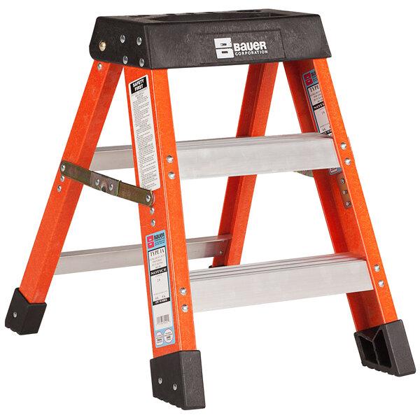Bauer Corporation 30402 304 Series Type 1A 2' Safety Orange Fiberglass Step Ladder - 300 lb. Capacity Main Image 1
