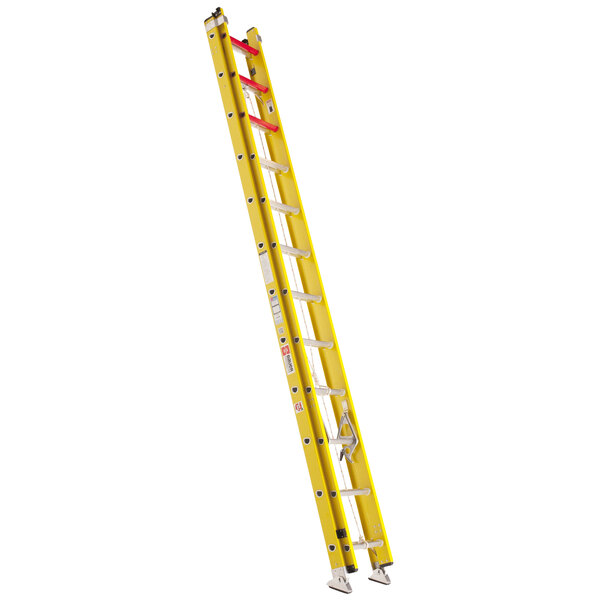 Bauer Corporation 31024 310 Series Type 1A 24' Yellow Fiberglass Extension Ladder - 300 lb. Capacity Main Image 1