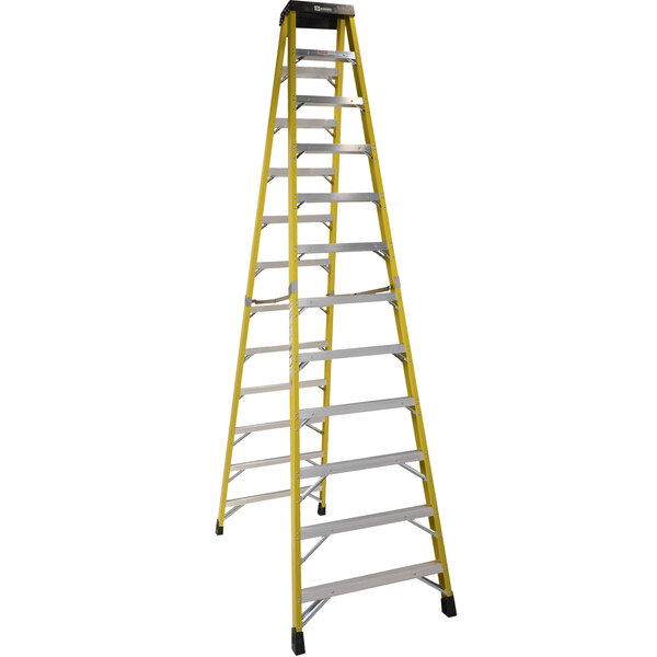 Bauer Corporation 35212 352 Series Type 1AA 12' Safety Yellow Fiberglass Two-Way Step Ladder - 375 lb. Capacity Main Image 1