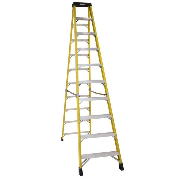 Bauer Corporation 35010 350 Series Type 1AA 10' Safety Yellow Fiberglass Step Ladder - 375 lb. Capacity Main Image 1