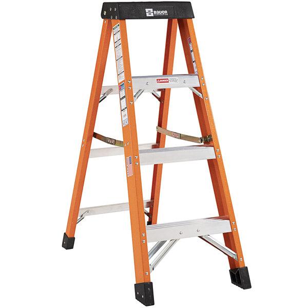 Bauer Corporation 30404 304 Series Type 1A 4' Safety Orange Fiberglass Step Ladder - 300 lb. Capacity Main Image 1