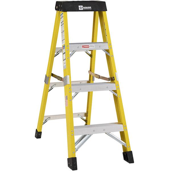 Bauer Corporation 35004 350 Series Type 1AA 4' Safety Yellow Fiberglass Step Ladder - 375 lb. Capacity Main Image 1