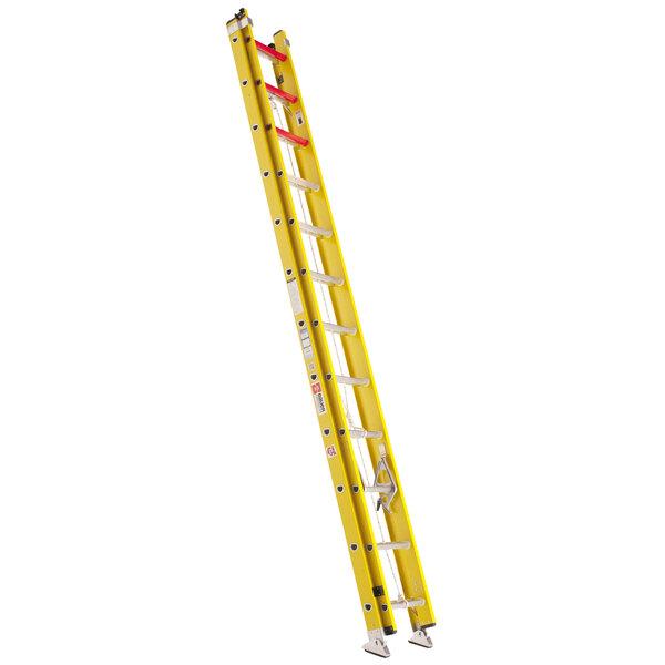 Bauer Corporation 31028 310 Series Type 1A 28' Yellow Fiberglass Extension Ladder - 300 lb. Capacity Main Image 1