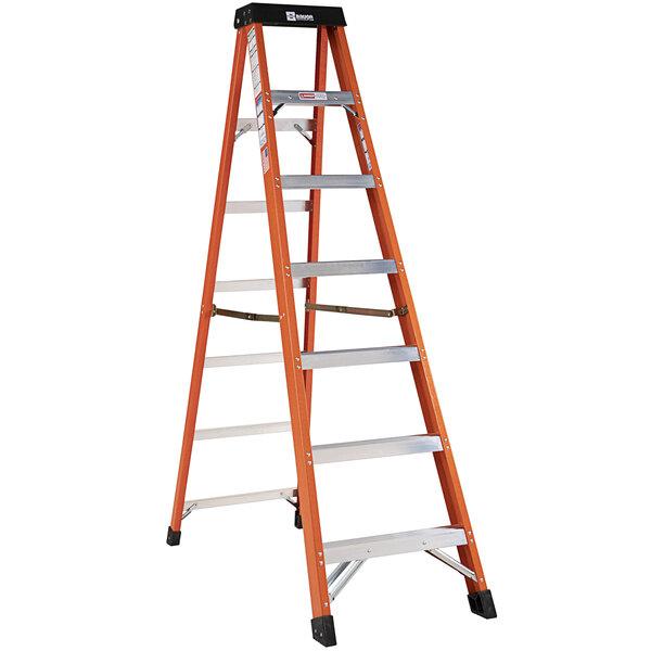 Bauer Corporation 30407 304 Series Type 1A 7' Safety Orange Fiberglass Step Ladder - 300 lb. Capacity Main Image 1