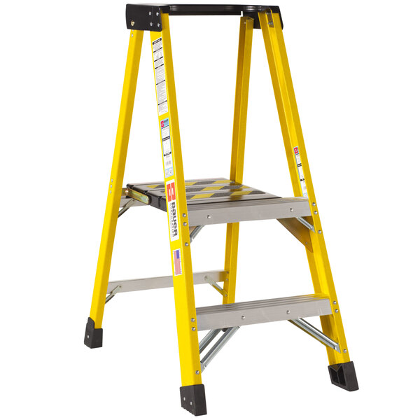 Bauer Corporation 35104 351 Series Type 1AA 4' Safety Yellow Fiberglass Platform Ladder with Steel Platform - 375 lb. Capacity Main Image 1