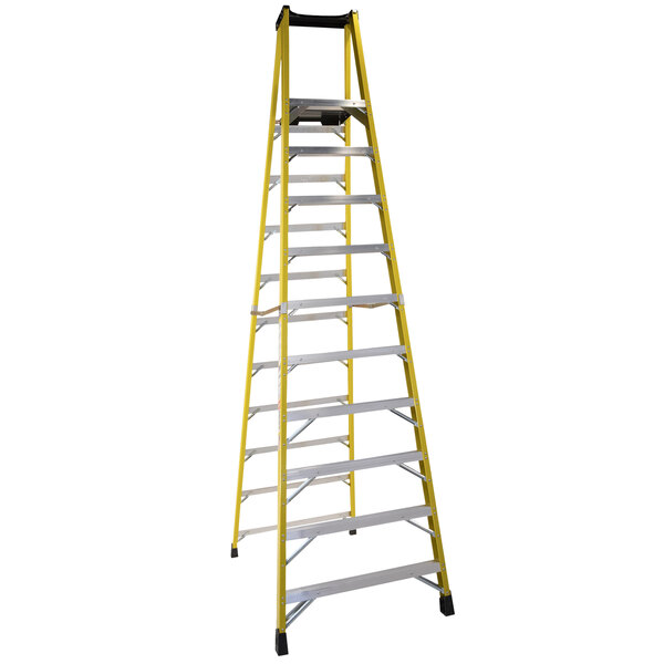 Bauer Corporation 35112 351 Series Type 1A 12' Safety Yellow Fiberglass Platform Ladder with Steel Platform - 300 lb. Capacity Main Image 1
