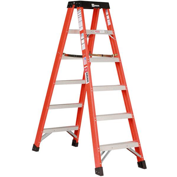 Bauer Corporation 35412 354 Series Type 1A 12' Safety Orange Fiberglass 2-Way Step Ladder - 300 lb. Capacity Main Image 1