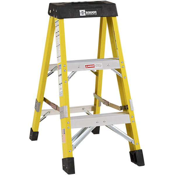Bauer Corporation 35003 350 Series Type 1AA 3' Safety Yellow Fiberglass Step Ladder - 375 lb. Capacity Main Image 1