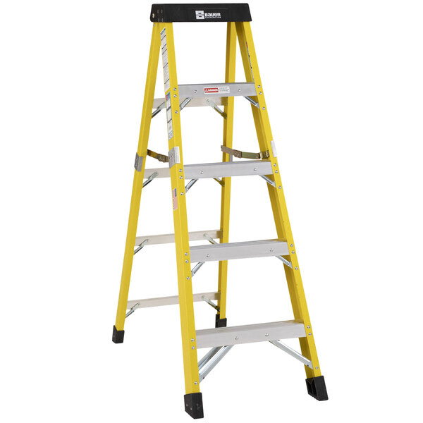 Bauer Corporation 35005 350 Series Type 1AA 5' Safety Yellow Fiberglass Step Ladder - 375 lb. Capacity Main Image 1