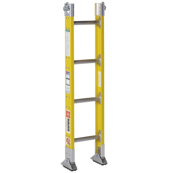 """Bauer Corporation 33314 333 Series Type 1A 4' Parallel Rail Sectional Ladder Base Section with 2-Way Shoes - 300 lb. Capacity - 12"""" Wide Main Image 1"""
