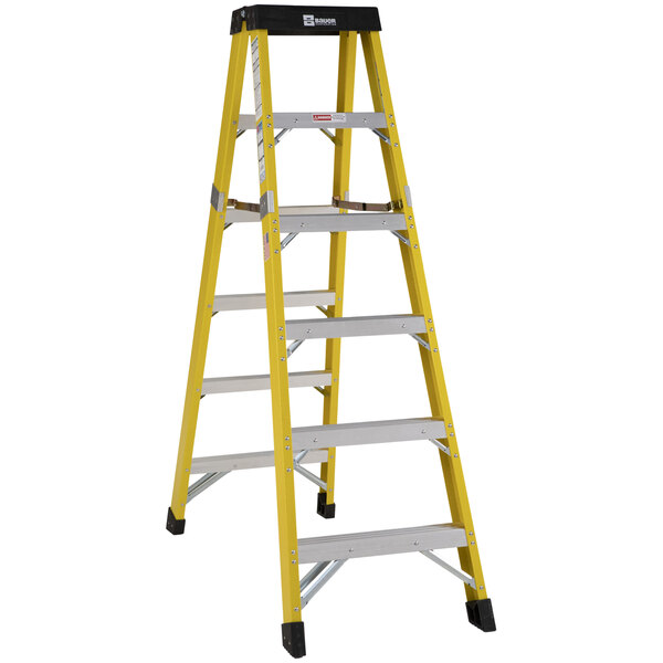 Bauer Corporation 35206 352 Series Type 1AA 6' Safety Yellow Fiberglass Two-Way Step Ladder - 375 lb. Capacity Main Image 1