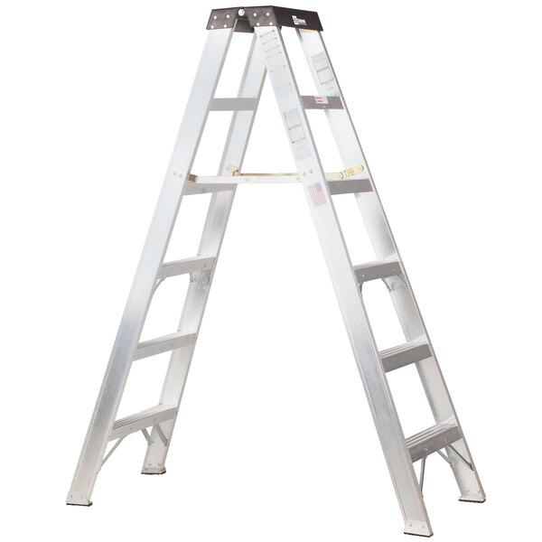 Bauer Corporation 20008 200 Series Type 1A 8' Aluminum 2-Way Step Ladder - 300 lb. Capacity Main Image 1