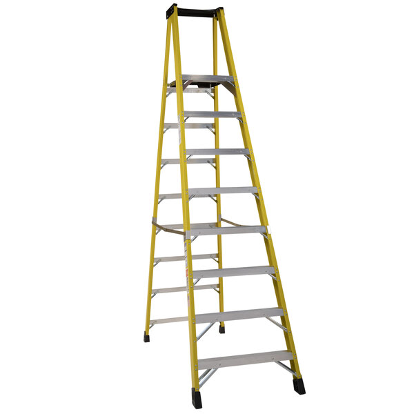 Bauer Corporation 35110 351 Series Type 1AA 10' Safety Yellow Fiberglass Platform Ladder with Steel Platform - 375 lb. Capacity Main Image 1