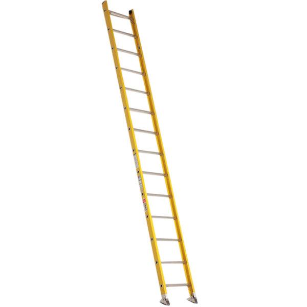 Bauer Corporation 33016 330 Series Type 1A 16' Yellow Fiberglass Straight Ladder - 300 lb. Capacity Main Image 1