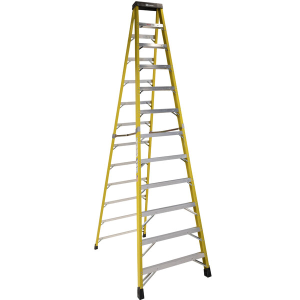 Bauer Corporation 35012 350 Series Type 1AA 12' Safety Yellow Fiberglass Step Ladder - 375 lb. Capacity Main Image 1