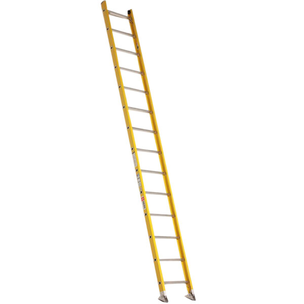 Bauer Corporation 33014 330 Series Type 1A 14' Safety Yellow Fiberglass Straight Ladder - 300 lb. Capacity Main Image 1