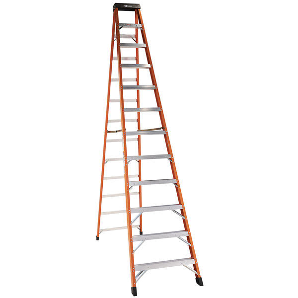 Bauer Corporation 30412 304 Series Type 1A 12' Safety Orange Fiberglass Step Ladder - 300 lb. Capacity Main Image 1