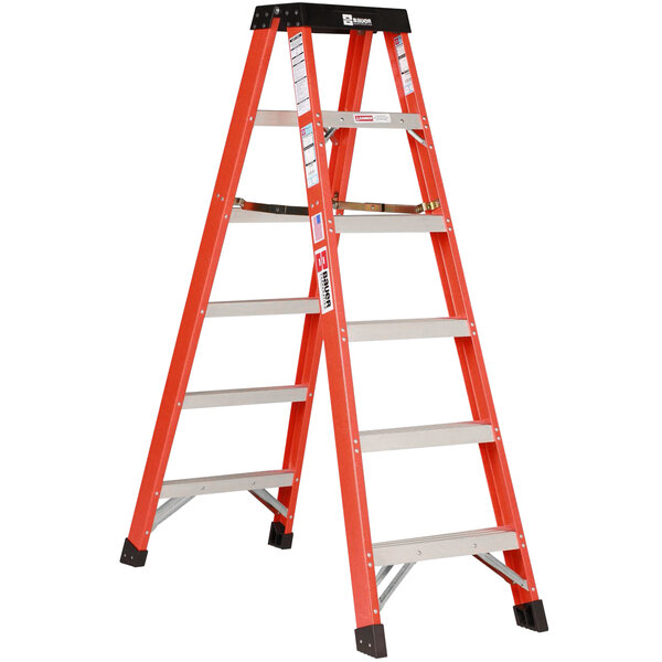 Bauer Corporation 35406 354 Series Type 1A 6' Safety Orange Fiberglass 2-Way Step Ladder - 300 lb. Capacity Main Image 1