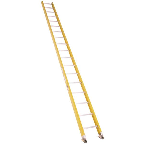 Bauer Corporation 33018 330 Series Type 1A 18' Yellow Fiberglass Straight Ladder - 300 lb. Capacity Main Image 1