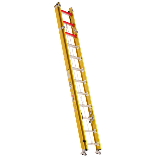 Bauer Corporation 31528 315 Series Type 1AA 28' Yellow Fiberglass Extension Ladder - 375 lb. Capacity Main Image 1