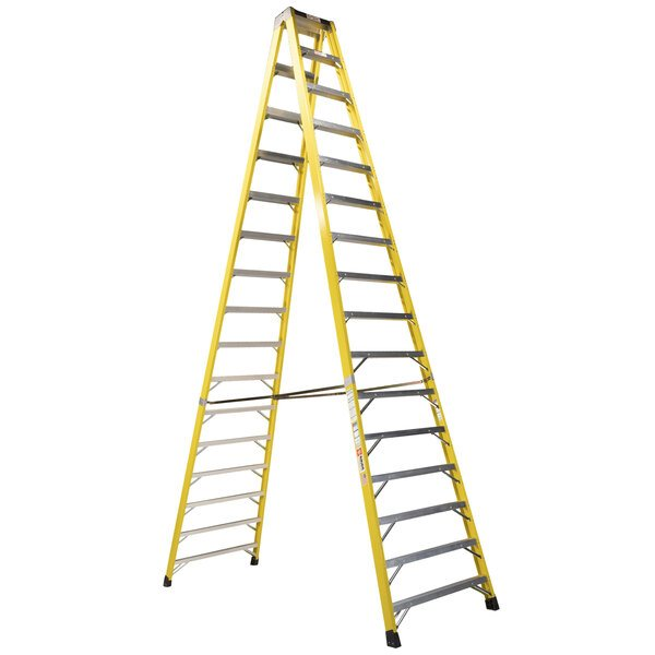 Bauer Corporation 35216 352 Series Type 1A 16' Safety Yellow Fiberglass Two-Way Step Ladder - 300 lb. Capacity Main Image 1