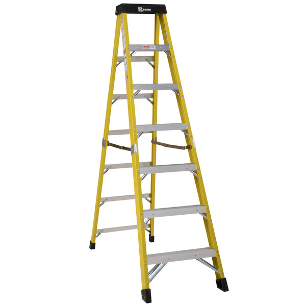 Bauer Corporation 35007 350 Series Type 1AA 7' Safety Yellow Fiberglass Step Ladder - 375 lb. Capacity Main Image 1