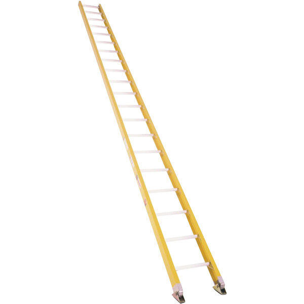 Bauer Corporation 33024 330 Series Type 1A 24' Yellow Fiberglass Straight Ladder - 300 lb. Capacity Main Image 1