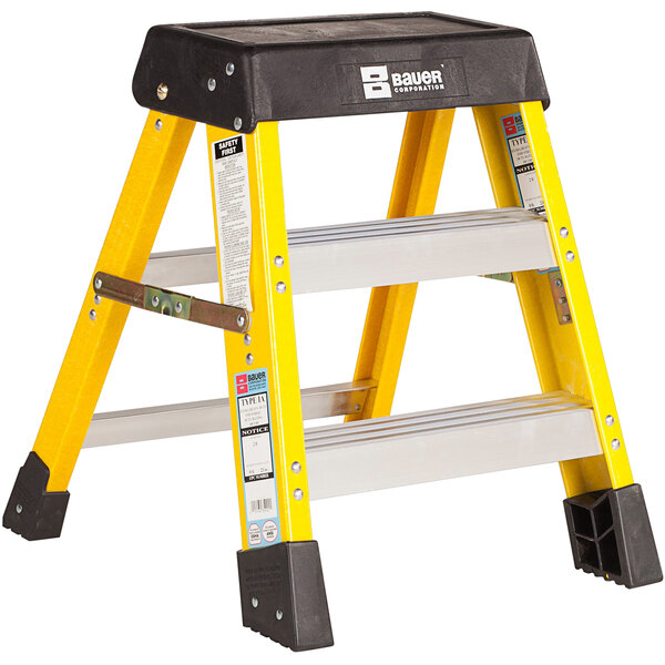 Bauer Corporation 35002 350 Series Type 1A 2' Safety Yellow Fiberglass Step Ladder - 300 lb. Capacity Main Image 1
