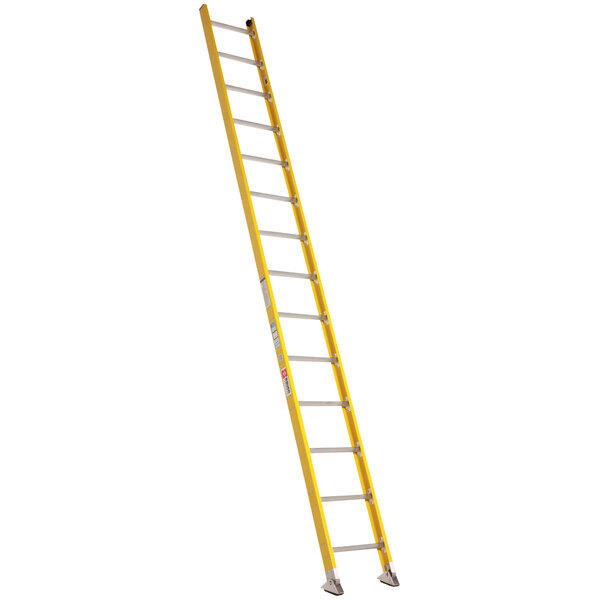 Bauer Corporation 33116 331 Series Type 1A 16' Safety Yellow Fiberglass Straight Ladder - 300 lb. Capacity Main Image 1