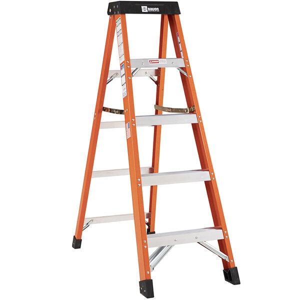Bauer Corporation 30405 304 Series Type 1A 5' Safety Orange Fiberglass Step Ladder - 300 lb. Capacity Main Image 1