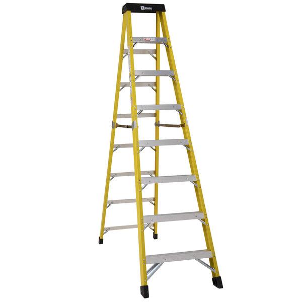 Bauer Corporation 35008 350 Series Type 1AA 8' Safety Yellow Fiberglass Step Ladder - 375 lb. Capacity Main Image 1