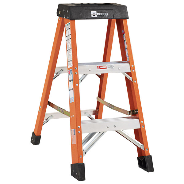 Bauer Corporation 30403 304 Series Type 1A 3' Safety Orange Fiberglass Step Ladder - 300 lb. Capacity Main Image 1