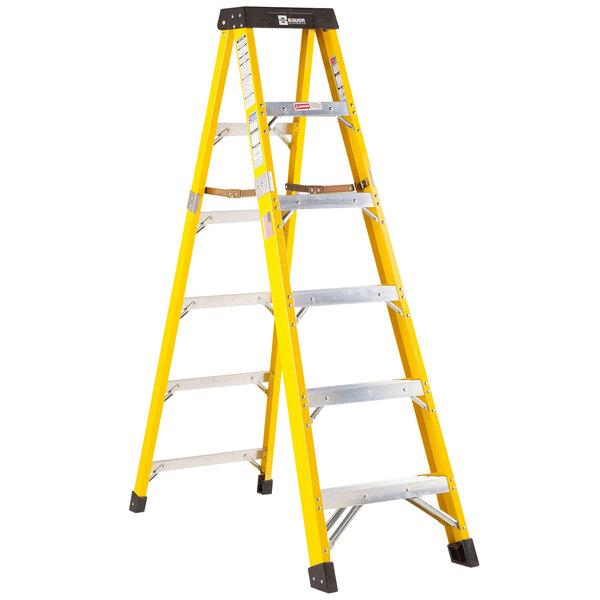 Bauer Corporation 35006 350 Series Type 1AA 6' Safety Yellow Fiberglass Step Ladder - 375 lb. Capacity Main Image 1