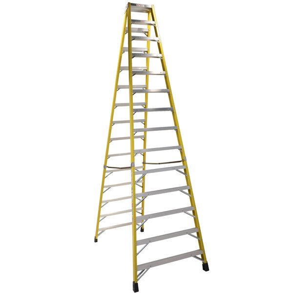 Bauer Corporation 35214 352 Series Type 1A 14' Safety Yellow Fiberglass Two-Way Step Ladder - 300 lb. Capacity Main Image 1