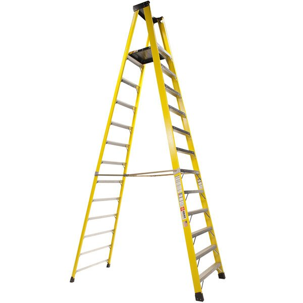 Bauer Corporation 35114 351 Series Type 1A 14' Safety Yellow Fiberglass Platform Ladder with Steel Platform - 300 lb. Capacity Main Image 1