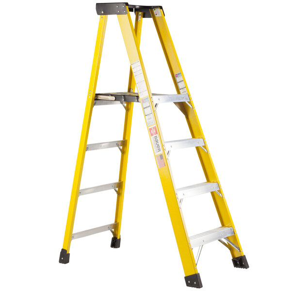 Bauer Corporation 35106 351 Series Type 1AA 6' Safety Yellow Fiberglass Platform Ladder with Steel Platform - 375 lb. Capacity Main Image 1