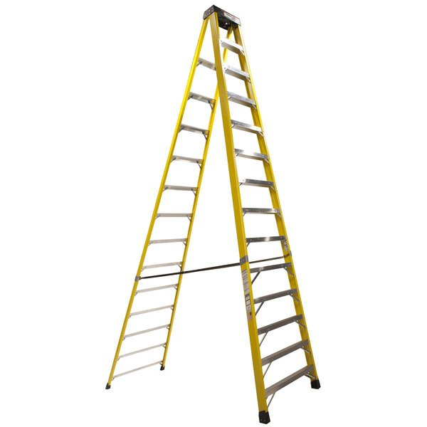 Bauer Corporation 35014 350 Series Type 1A 14' Safety Yellow Fiberglass Step Ladder - 300 lb. Capacity Main Image 1