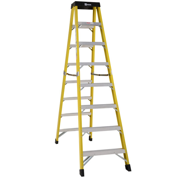 Bauer Corporation 35210 352 Series Type 1AA 10' Safety Yellow Fiberglass Two-Way Step Ladder - 375 lb. Capacity Main Image 1
