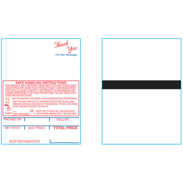 """Hobart 1801-S/H 2 1/4"""" x 3"""" White Pre-Printed Equivalent Scale Label Roll - 16/Case Main Image 1"""