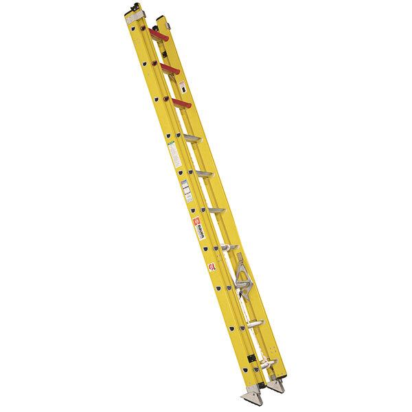 Bauer Corporation 31020 310 Series Type 1A 20' Yellow Fiberglass Extension Ladder - 300 lb. Capacity Main Image 1