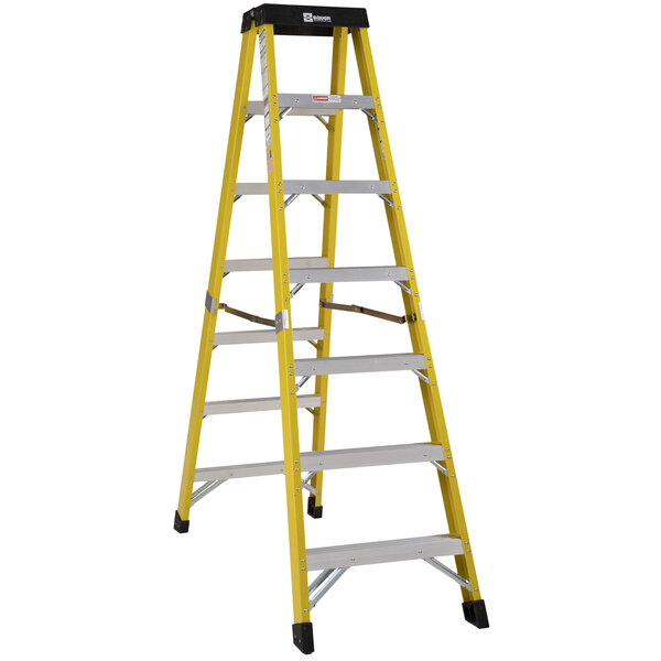 Bauer Corporation 35207 352 Series Type 1AA 7' Safety Yellow Fiberglass Two-Way Step Ladder - 375 lb. Capacity Main Image 1