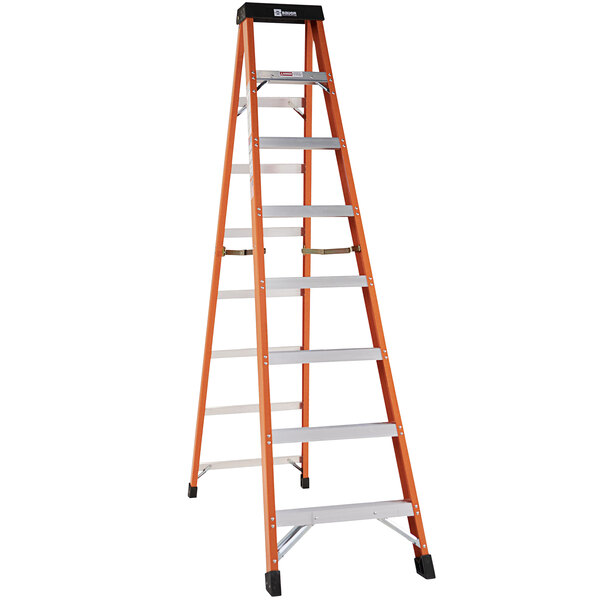 Bauer Corporation 30408 304 Series Type 1A 8' Safety Orange Fiberglass Step Ladder - 300 lb. Capacity Main Image 1