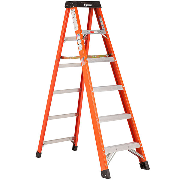 Bauer Corporation 30406 304 Series Type 1A 6' Safety Orange Fiberglass Step Ladder - 300 lb. Capacity Main Image 1