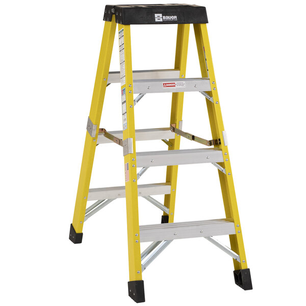 Bauer Corporation 35204 352 Series Type 1AA 4' Safety Yellow Fiberglass Two-Way Step Ladder - 375 lb. Capacity Main Image 1