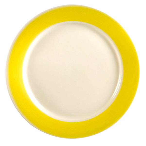 """CAC R-6-Y Rainbow Plate 6 1/2"""" - Yellow - 36/Case"""